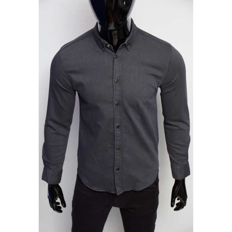 Рубашка мужская джинсовая Figo 16000 серая