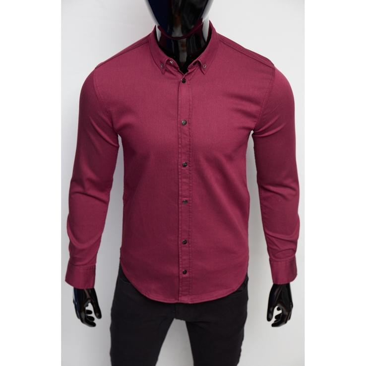 Рубашка мужская джинсовая Figo 16000-1 бордо