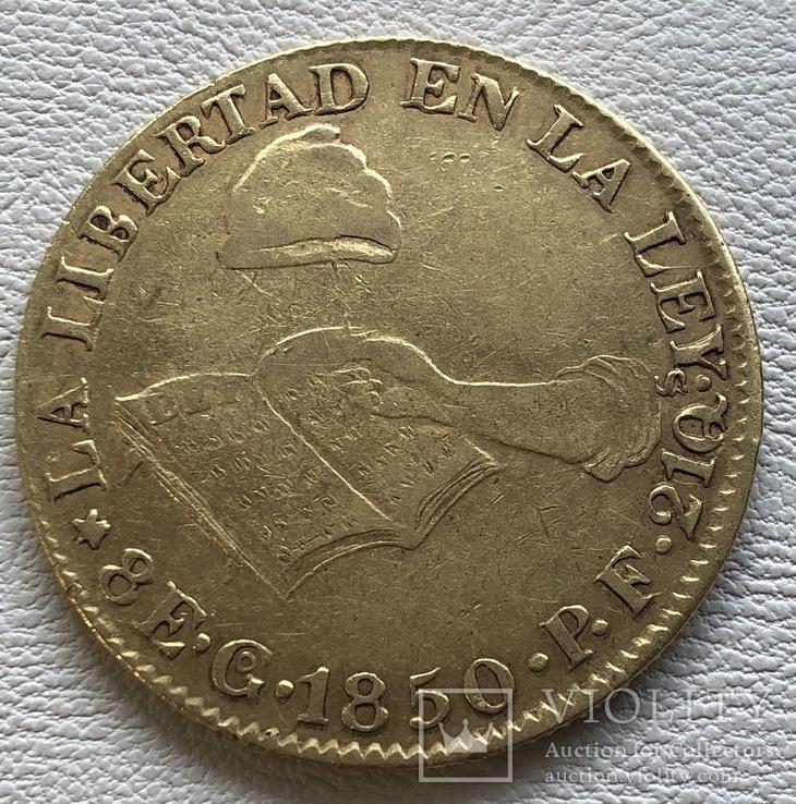 8 эскудо 1850 год Мексика золото 26,93 грамм 875'