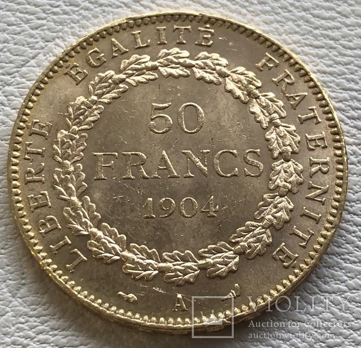 50 франков 1904 года Франция золото 16,12 грамм 900', фото №3