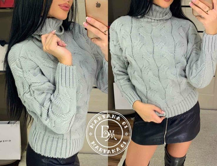 Объемный вязаный свитер оверсайз серый