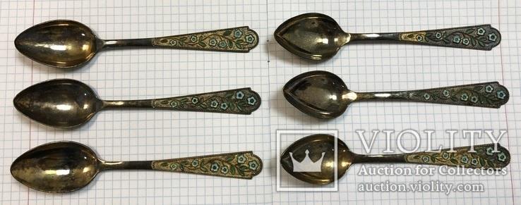 Набор серебряных чайных ложечек 875 пробы с эмалями и позолотой - 6 шт., фото №4