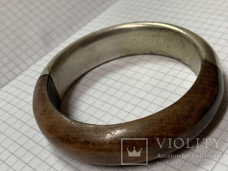 Винтажный браслет дерево металл, фото №4