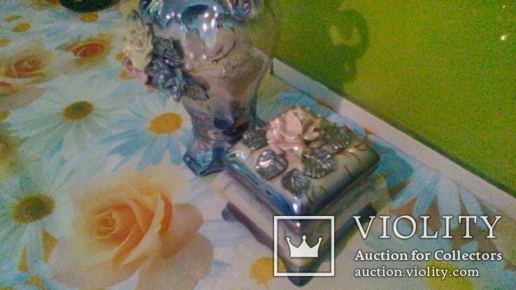 Набір для туалетного столика. Вазочка для квітів і шкатулочка для прикрас., фото №3