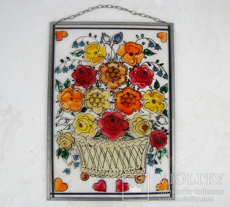 Винтажный витраж Цветы. Подвесное панно. Германия., фото №2