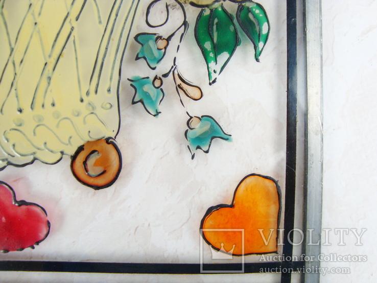Винтажный витраж Цветы. Подвесное панно. Германия., фото №5