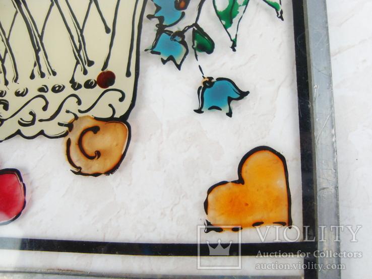 Винтажный витраж Цветы. Подвесное панно. Германия., фото №10