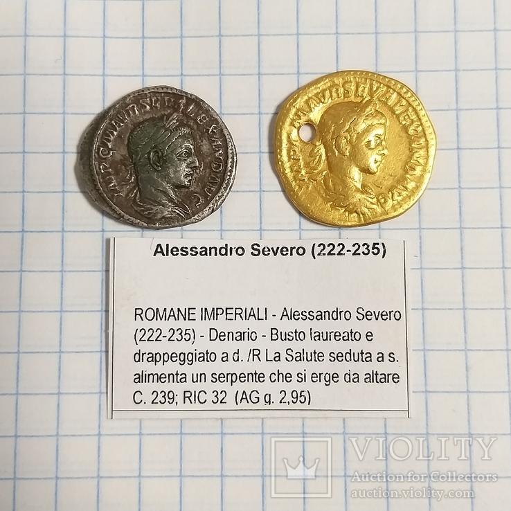 Ауреус и денарий Александра Севера., фото №2