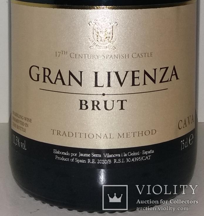 Вино игристое Cava Gran Livenza Brut набор с бокалом, Испания, фото №3
