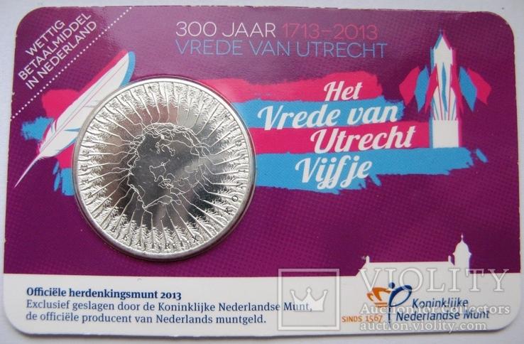 """Нидерланды, 5 евро 2013 """"300 лет свободному городу Утрехт"""", фото №2"""