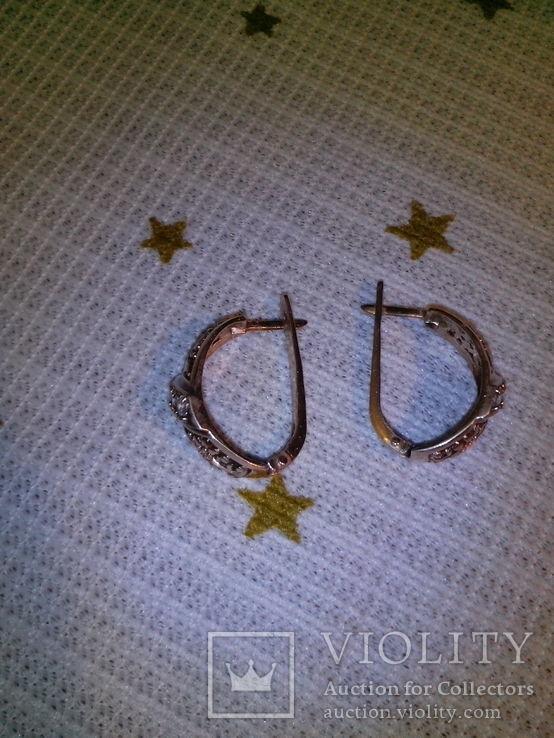 Серьги серебряные позолоченые, фото №3
