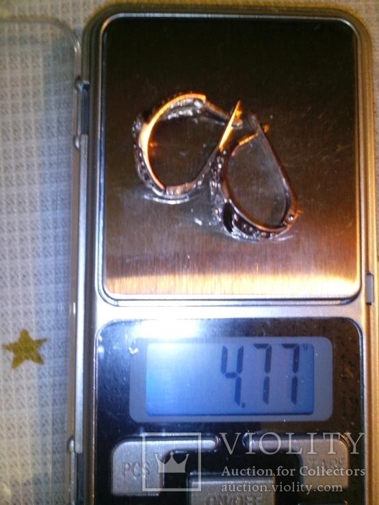 Серьги серебряные позолоченые, фото №5