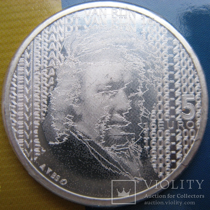 """Нидерланды, 5 серебряных евро 2006 """"400 лет Рембрандту"""", фото №4"""