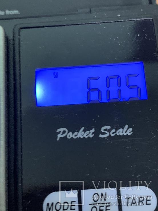 Винтажный жесткий браслет голубого цвета 60 грамм, фото №4