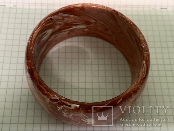 Винтажный жесткий браслет красного цвета 62 грамма, фото №3