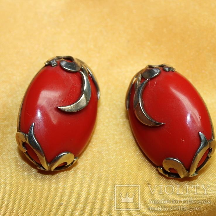 Серебряные серьги 925, вставки золото 585 , натуральный красный коралл., фото №3