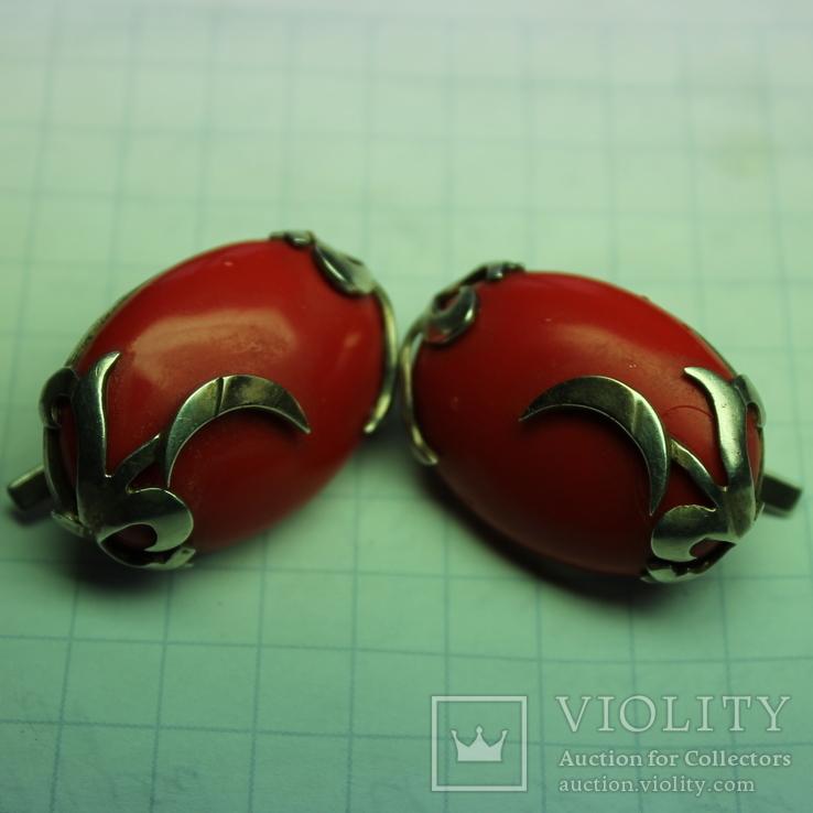 Серебряные серьги 925, вставки золото 585 , натуральный красный коралл., фото №4
