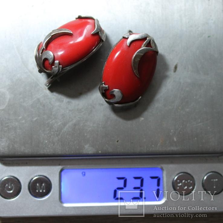 Серебряные серьги 925, вставки золото 585 , натуральный красный коралл., фото №9