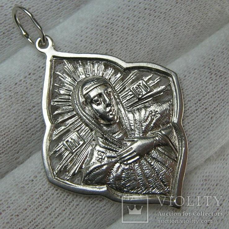 Серебряный Кулон Икона Иконка Пресвятая Богородица Мария Молящаяся 925 проба Серебро 865, фото №2