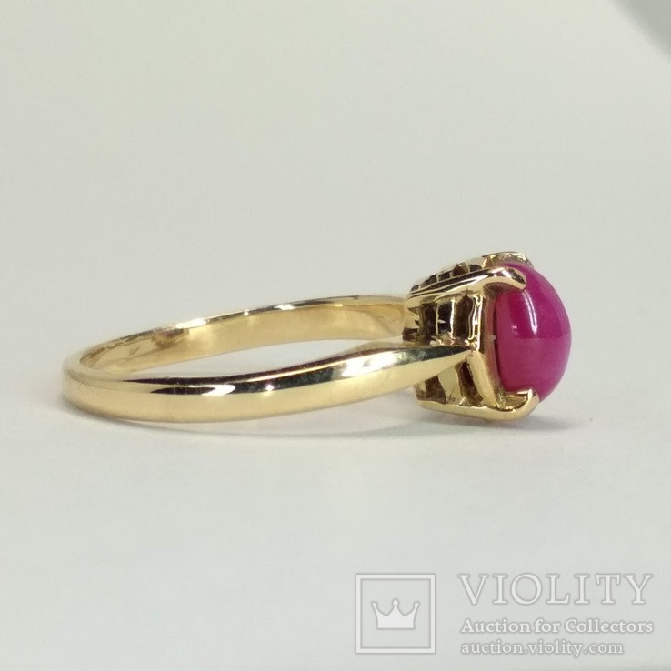 Золотое  колечко с синтетическим звездчатым рубином, фото №4