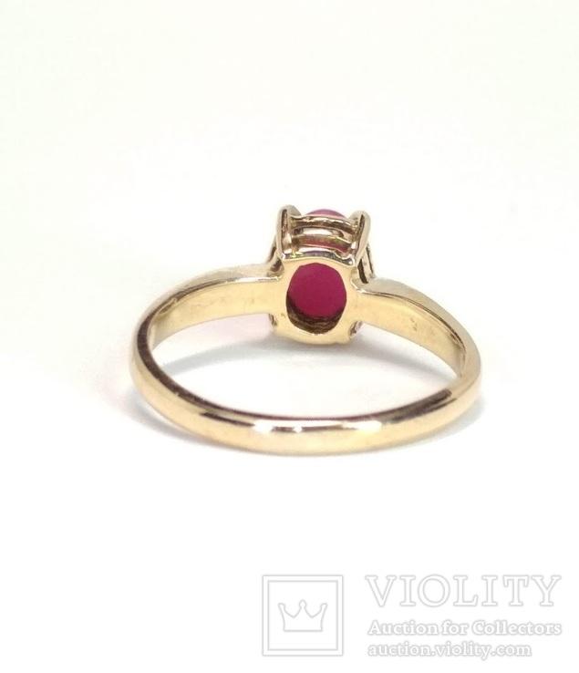 Золотое  колечко с синтетическим звездчатым рубином, фото №6
