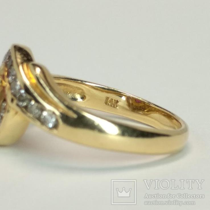 Золотое кольцо с натуральным рубином и бриллиантами, фото №7