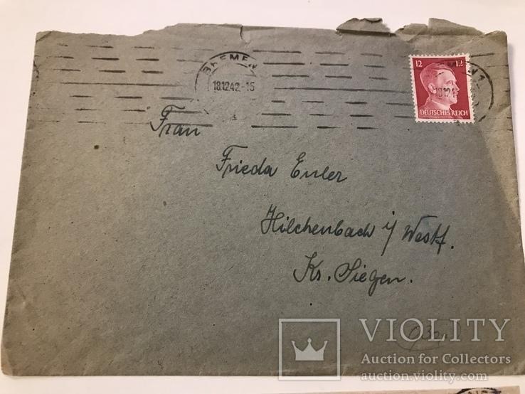Марки рейха на конверте и письме . 1942 и 1944 года, фото №3