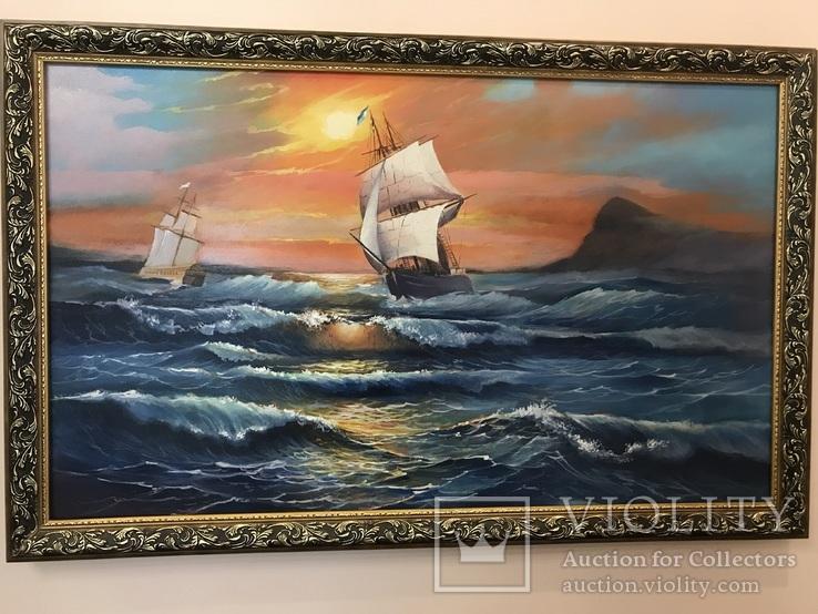 Картина «корабли на море».