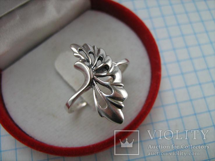 Серебряное Кольцо Веер Лист 925 проба Размер 19.25 Серебро 767, фото №3