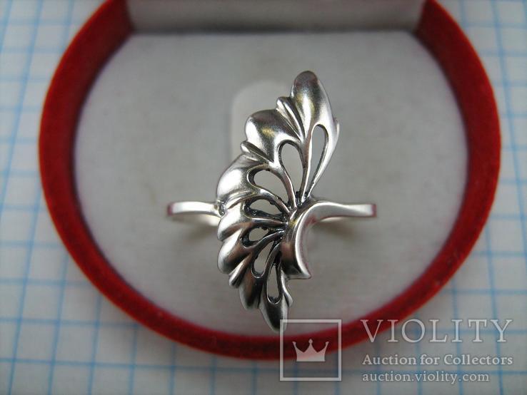 Серебряное Кольцо Веер Лист 925 проба Размер 19.25 Серебро 767, фото №4