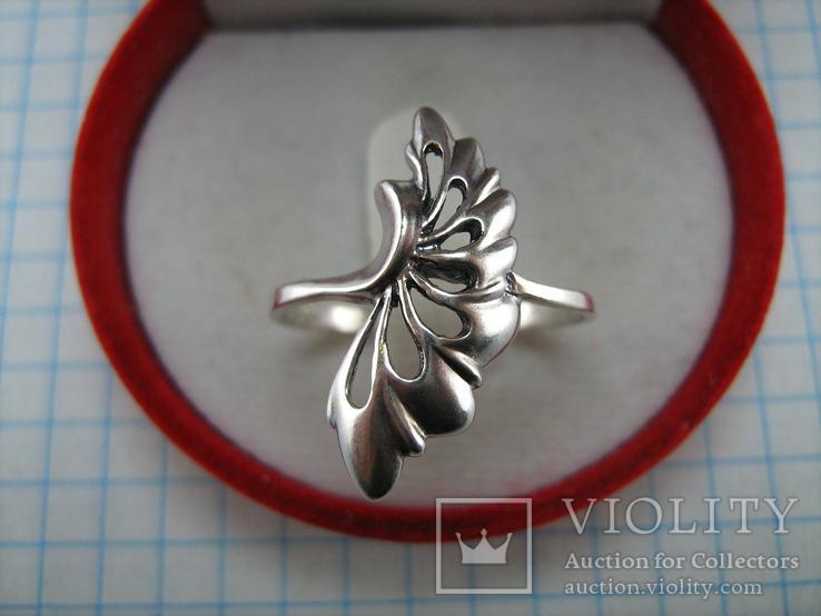 Серебряное Кольцо Веер Лист 925 проба Размер 19.25 Серебро 767, фото №5