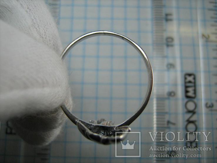 Серебряное Кольцо Веер Лист 925 проба Размер 19.25 Серебро 767, фото №6
