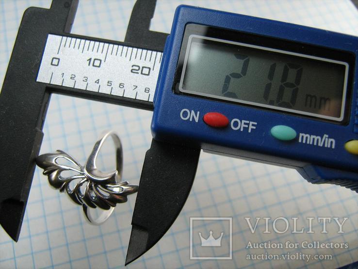 Серебряное Кольцо Веер Лист 925 проба Размер 19.25 Серебро 767, фото №7