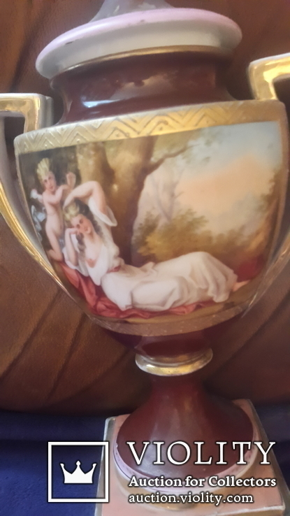 Две старинные фарфоровые вазы старая Вена, фото №5
