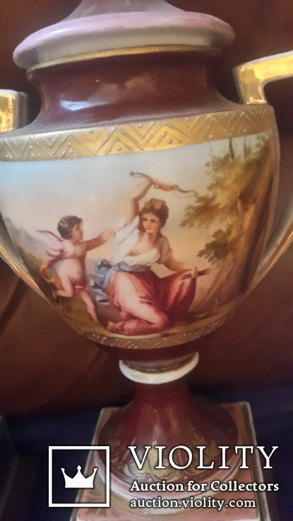 Две старинные фарфоровые вазы старая Вена, фото №6