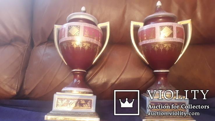 Две старинные фарфоровые вазы старая Вена, фото №10