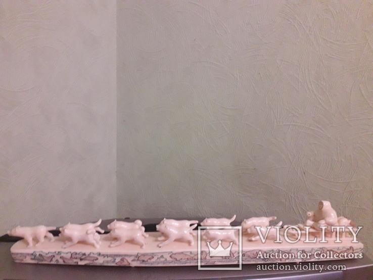 Сувенир из клыка моржа ''Собачья упряжка'', Уэлен, фото №2