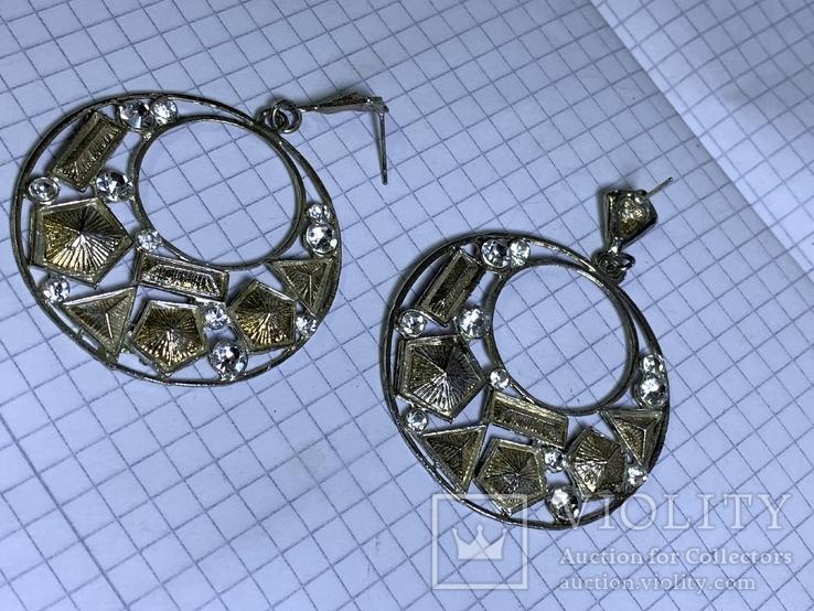 Круглые серьги с белыми камушкам винтаж, фото №3