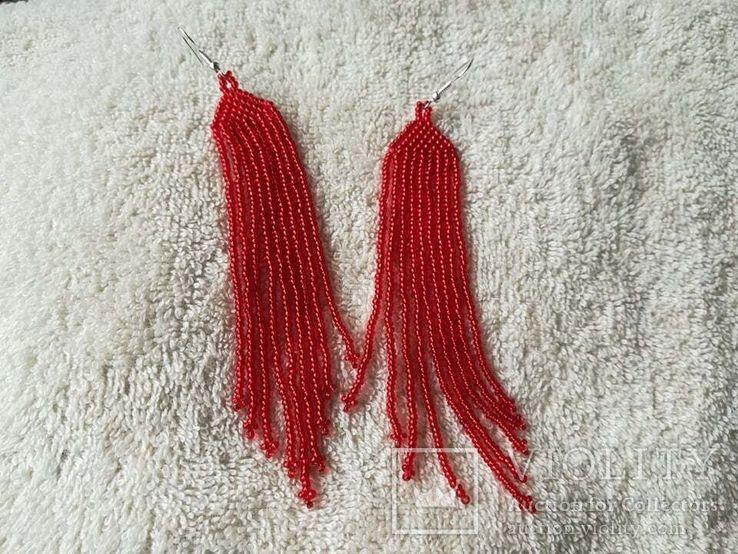 Красные серьги, длинные серьги-кисти, бисерные серьги, фото №3