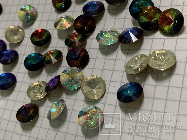Кристаллы 10,5 мм-50 шт( чешское стекло 70 е года) для ремонта винтажных украшений, фото №3