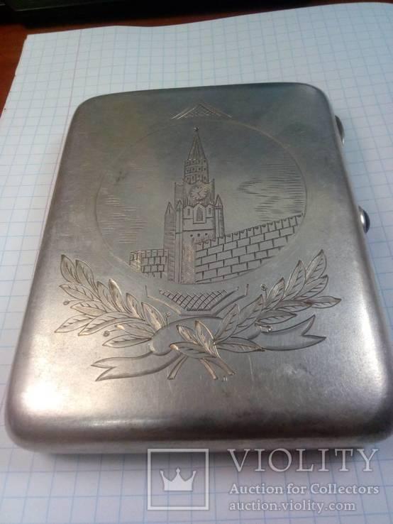 Серебряный портсигар Москва-кремль, фото №3