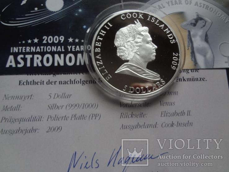5 долларов 2009 о-ва  Кука год Астрономии Венера   серебро  999, фото №5