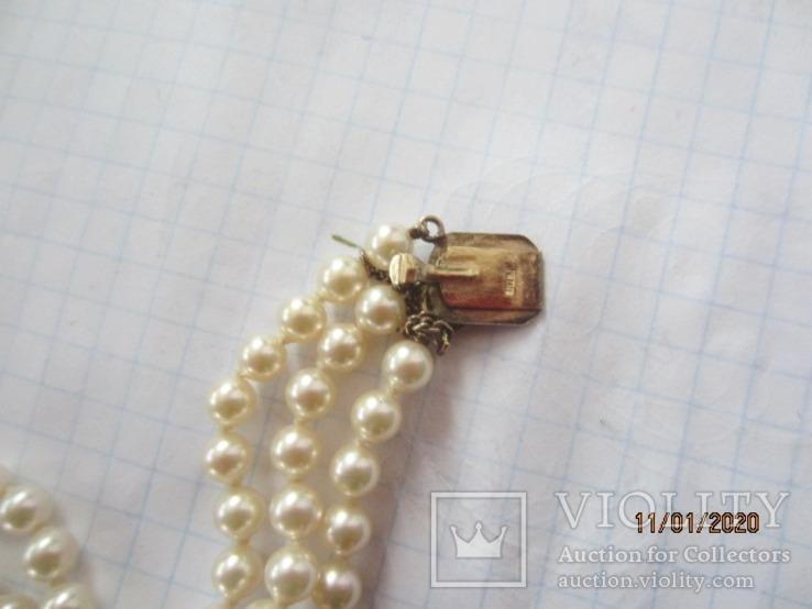 Браслет из 3 нитей  винтаж  жемчуг позолота Япония, фото №5
