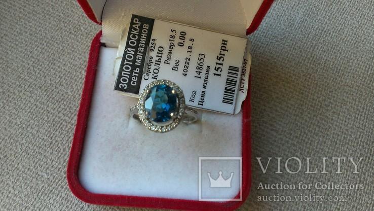 Серьги и кольцо серебро 925 с топазами и цирконами., фото №5