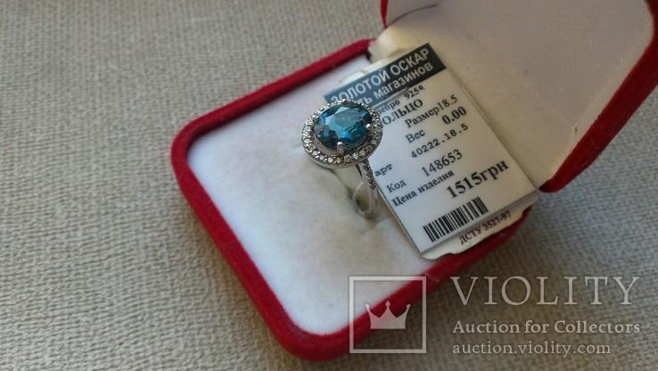 Серьги и кольцо серебро 925 с топазами и цирконами., фото №6