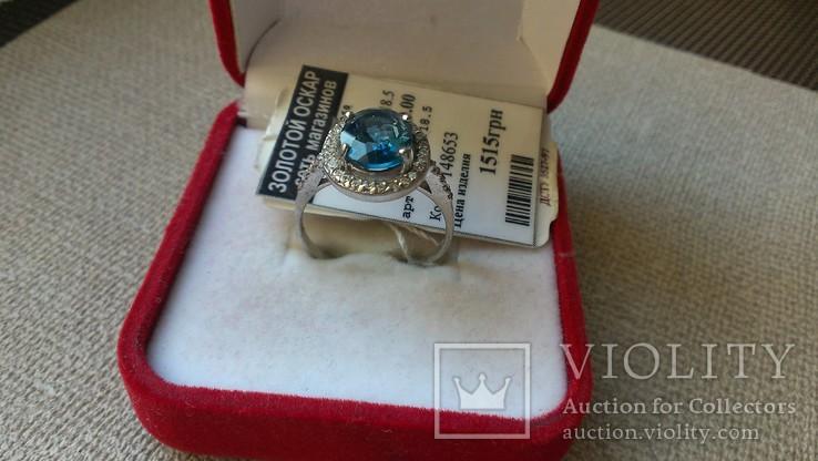 Серьги и кольцо серебро 925 с топазами и цирконами., фото №7