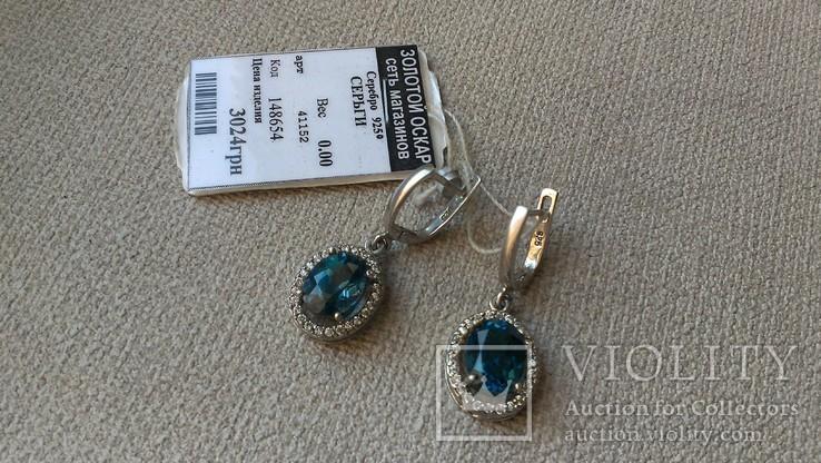 Серьги и кольцо серебро 925 с топазами и цирконами., фото №9