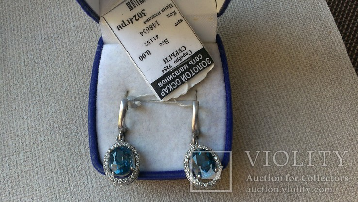 Серьги и кольцо серебро 925 с топазами и цирконами., фото №11