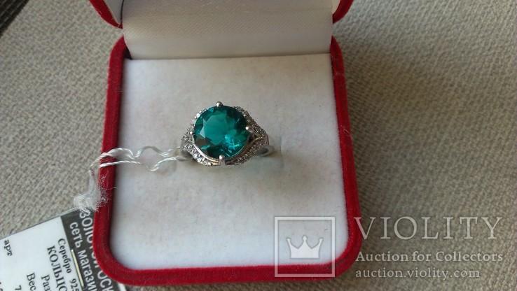 Серьги и кольцо серебро 925 с изумрудами и цирконами., фото №6