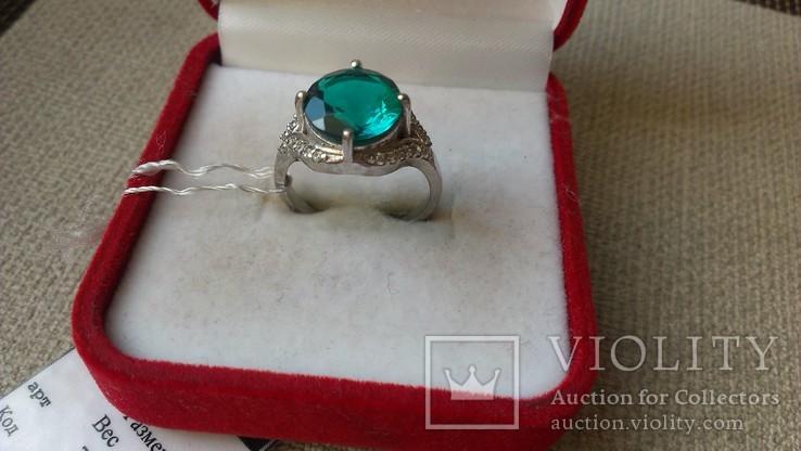 Серьги и кольцо серебро 925 с изумрудами и цирконами., фото №7